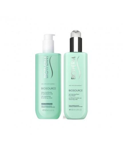 BIOSOURCE DUO Reinigungslotion und Reinigungsmilch für normale Haut - Set 2teilig